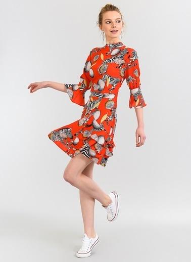 Zebra Desenli Volanlı Elbise-Agenda